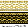 Gold chain. Seamless Borders vector set. - stock vector