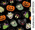 Halloween Characters vector pattern in black background - stock vector