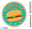 Hamburger with lettuce ad design offer vector illustration - stock vector