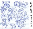 Hand-Drawn Abstract Scrolls and Swirls Sketchy Doodle Design Elements on Lined Notebook Paper Vector Illustration - stock vector
