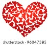 Heart made of  butterflies isolated. Vector eps8 - stock vector