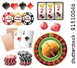 Highly detailed casino design elements - stock vector