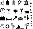 Hotel Icons set isolated on white background. Vector illustration - stock vector