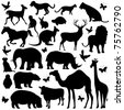 illustration of collection of animal silhouettes on isolated background - stock vector
