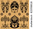 Indian decorative pattern from floral decorative patterns and masks of deities on a beige background - stock vector