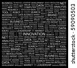 INNOVATION. Word collage on black background. Illustration with different association terms. - stock vector
