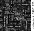 JOY. Seamless vector pattern with word cloud. Illustration with different association terms. - stock vector