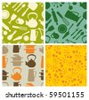kitchen - seamless pattern - stock vector