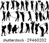 large collection of golfers silhouettes - stock vector