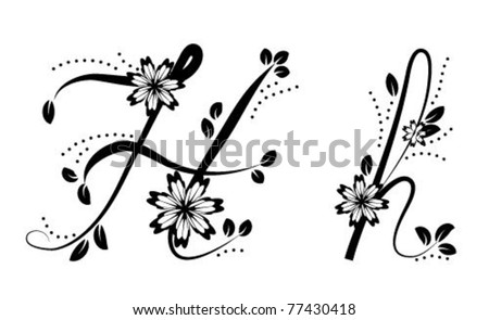 h letter in different style  Letter H (floral font)