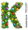 Letter K - Christmas tree decoration - Alphabet - stock vector