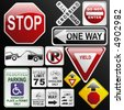 Make your own glossy glassy web 2.0 warning / danger road signs in vector form (no park; one way; rail road; stop; weight limit; buckle up; no enter; yield, stop ahead...) Part 2. - stock vector