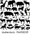 many silhouettes of zoo animals; vector illustration; - stock vector