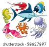 Marine life. Isolated cartoon and vector characters. - stock vector