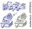 Music doodle. Set of vector music note and gramophone doodle. - stock vector