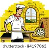 Old World Pizza Chef - stock vector