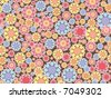 pastel pink and blue snow flowers pattern (vector) - stock vector