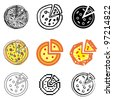 pizza icons vector set - stock vector