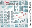 Real estate presentation kit. Graph and charts, easy assembling elements and world map with separate countries. - stock vector