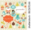 Retro Christmas background with collection of icons - stock vector