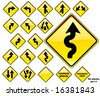 Road Signs YELLOW series: 19 different detailed US/Australian style road signs; part 1/3 - stock vector