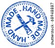 "Rubber stamp illustration showing ""HAND MADE"" text - stock vector"
