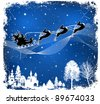 Santa Claus on sleigh with three deers in Christmas Night, vector christmas background. - stock vector