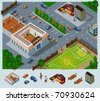 School environment. Set of very detailed isometric vector - stock vector