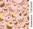 Seamless pattern from celebratory cupcakes - stock vector