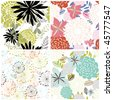 Seamless vector floral backgrounds set. For easy making seamless pattern just drag all group into swatches bar, and use it for filling any contours. - stock vector