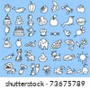 set of black and white icons of animals, nature, food - stock vector