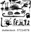 Set of cartoon monsters - stock vector