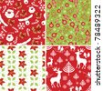 Set of Christmas Fabric Swatches - stock vector