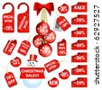 Set of christmas price tags and labels. Vector eps10 illustration - stock vector