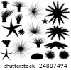 Set of editable vector silhouettes of sea lifeforms - stock vector