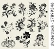 set of flourish design elements - stock vector