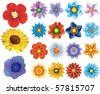 set of flower graphics vector - stock vector