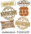 Set of grunge rubber stamps  with  the word barbeque written inside, vector illustration - stock vector