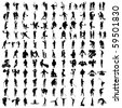 Set of Hundred Sports Silhouettes 3 - stock vector