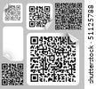 Set of labels with qr codes (modern bar codes) - stock vector