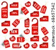 Set of red price tags and labels. Vector eps10 illustration - stock vector