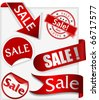 Set of stickers, labels and ribbons with word sale - stock vector