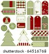 Set of variable Christmas tags, vector - stock vector