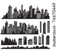 Set of vector cities silhouette and elements for design. - stock vector