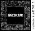 SOFTWARE. Word collage on black background. Illustration with different association terms. - stock vector