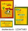 Template designs of Mexican menu and business card for coffee shop and restaurant, vector file include - stock vector