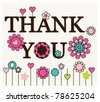 Thank you card floral designs - stock vector