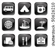 Travel Web Icons Set 1 (Square Glossy Buttons) - stock vector