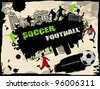Urban grunge soccer background, vector illustration - stock vector