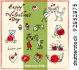 Valentine's day doodles set - stock vector